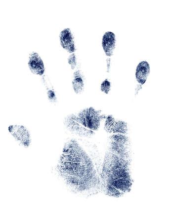 흰색 배경에 파란색 손 자국