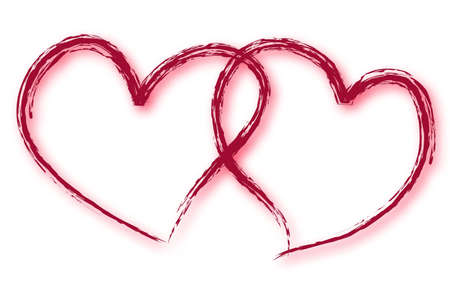 Hearts with grunge strokes on white background