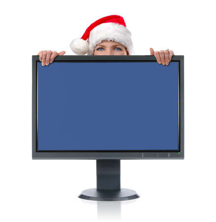 LCD monitor and Santa isolated over a white background�