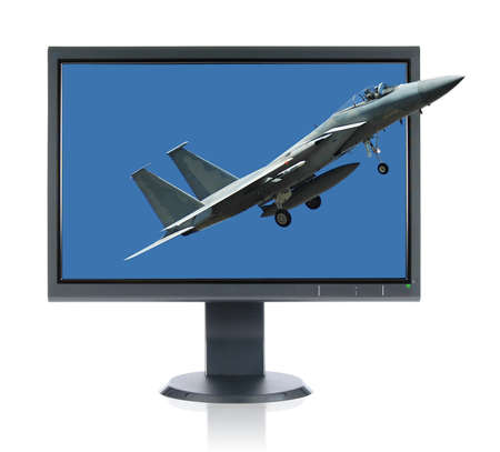 LCD monitor and F 15 Eagle and Monitor isolated over a white background photo