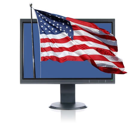 blue widescreen widescreen: LCD monitor and USA flag isolated over a white background&