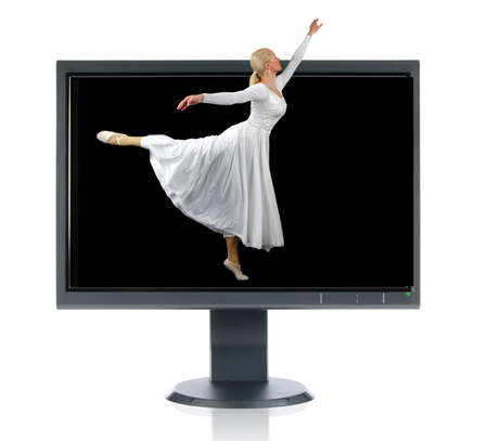 Ballerina andLCD monitor isolated over a white background photo