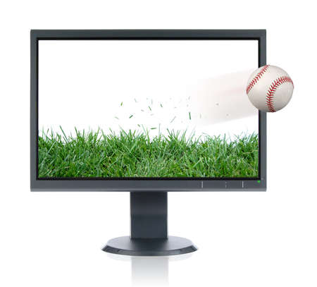 LCD monitor and baseball isolated over a white background