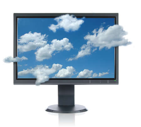 LCD monitor isolated over a white background Stock Photo