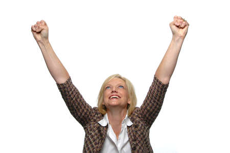 victorious: Businesswoman celebrating against a white background Stock Photo