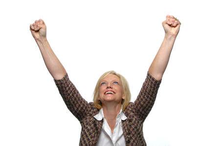Zaken vrouw vieren tegen een witte achtergrond Stockfoto
