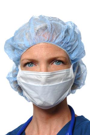 화이트 절연 외과 여성 의사 초상화