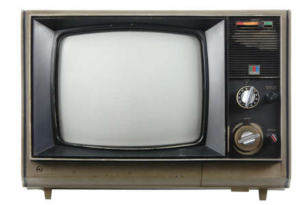 흰 배경에 고립 된 오래된 빈티지 TV