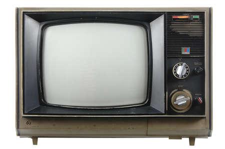 television antigua: Cosecha vieja TV aislado en un fondo blanco  Foto de archivo