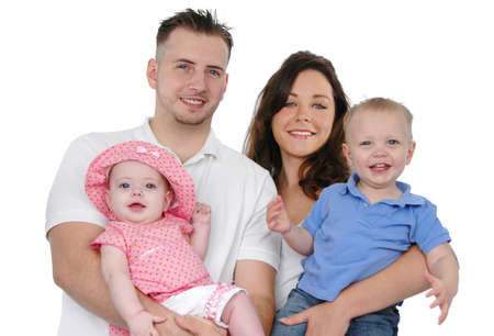 Happy family smiling isolated on a white background Stock Photo - 7772965