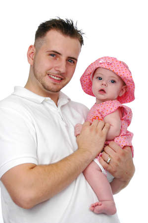 Father and baby daughter isolated on white and verticarl format Stock Photo - 7772648
