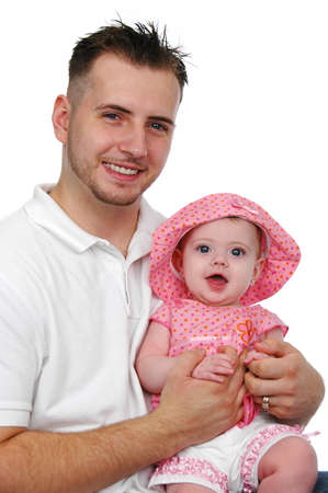 Father and baby daughter smiling solated on a white background Stock Photo - 7773057