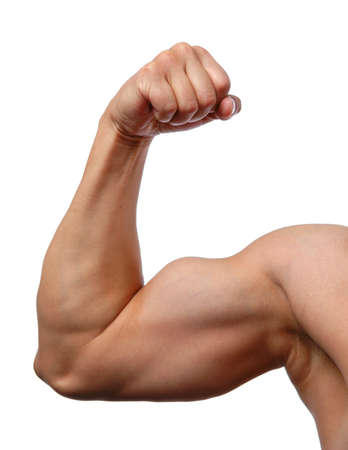 muskler: Close up of mans arm showing biceps