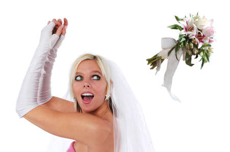 tossing: Bride tossing the bouquet isolated on a white background