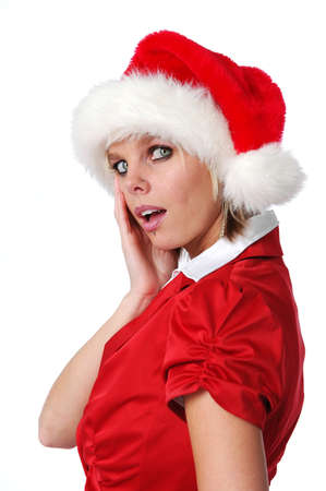 Santa Girl showing surprise isolated on white photo