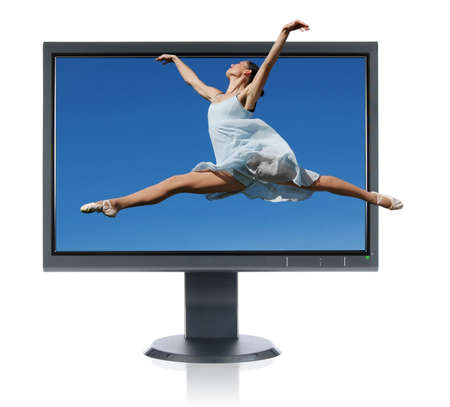 blue widescreen widescreen: Ballerina jumping out of a monitor isolated on a white background Stock Photo