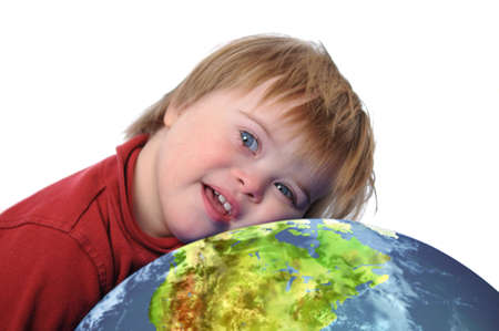 Boy with down syndrome and earth isolated on white photo