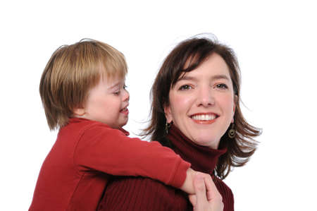 Mother and son with down syndrome having fun photo