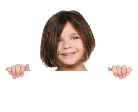 signboard: Little girl holding blank sign isolated on white Stock Photo