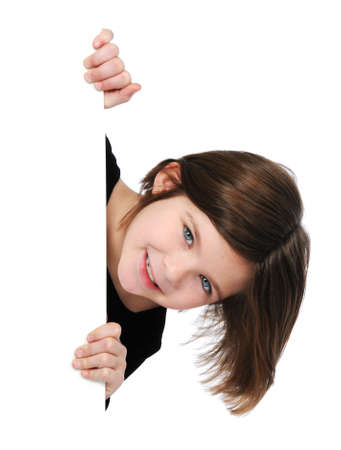 Little girl holding blank sign isolated on white -vertical format