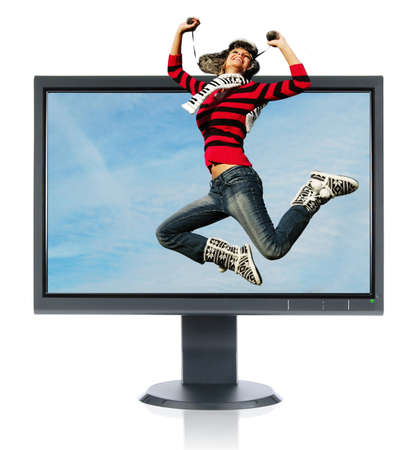 blue widescreen widescreen: Jumping girl and monitor isolated on a white background