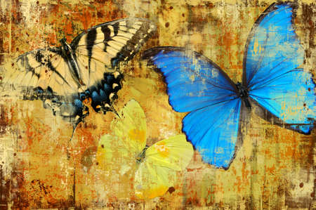 grunge backgrounds: Butterflies background with grunge patterns