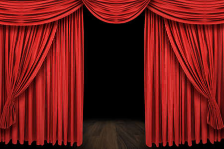 Large red curtain stage opening with dark bakground photo