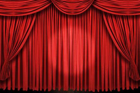 Grote rode gordijn podium met spot licht