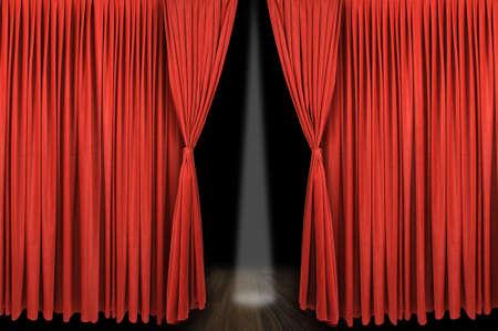 telon de teatro: Etapa de cortina Roja gran apertura con bakground oscuro y luz focal Foto de archivo