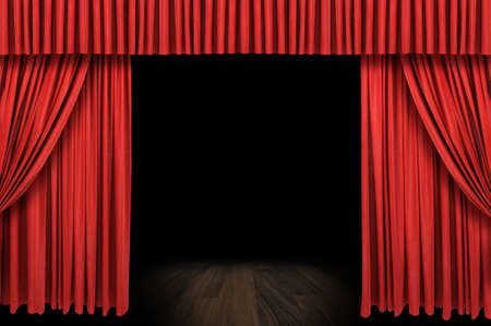 Large red curtain stage opening with dark background Stock Photo