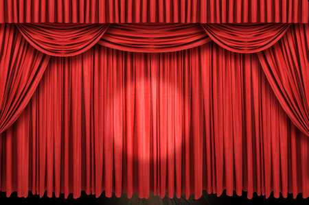 Large red curtain stagewith spot light Stock Photo - 7774293