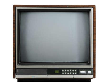 ビンテージ テレビの白い背景で隔離