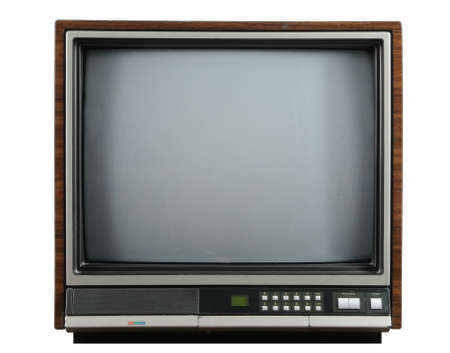 screen tv: Vintage television isolated on a white background Stock Photo