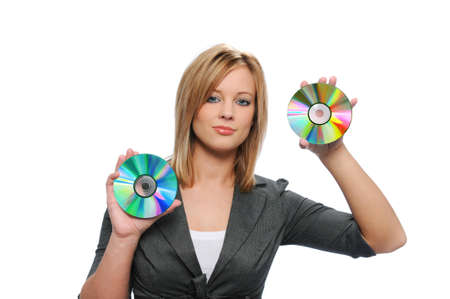Businesswoman holding CDs isolated on white Stock Photo