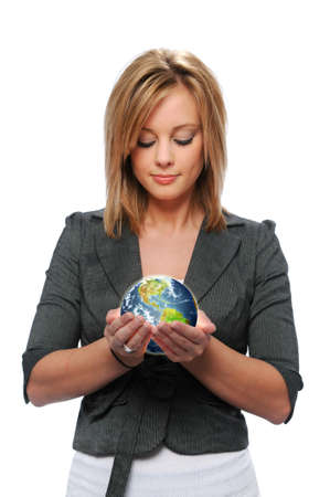 hands holding earth: Young girl holding the earth isolated on white