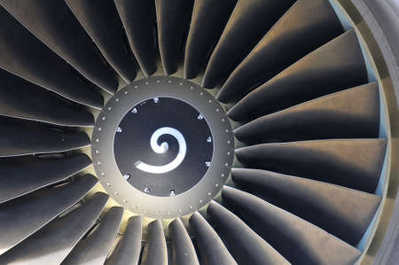 Jet engine detail of commercial airliner photo