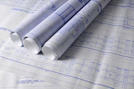 Architecturale blueprins op een teken tafel Stockfoto