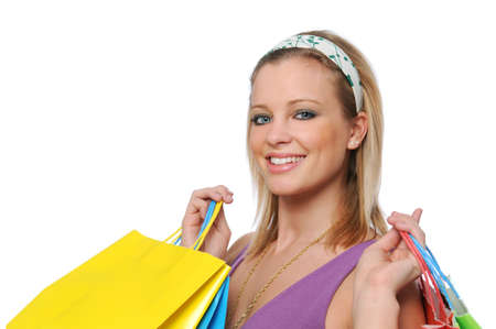 isilated: Young girl going shopping isilated on white Stock Photo