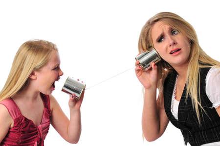 miscommunication: Miscommunication between generations isolated on white