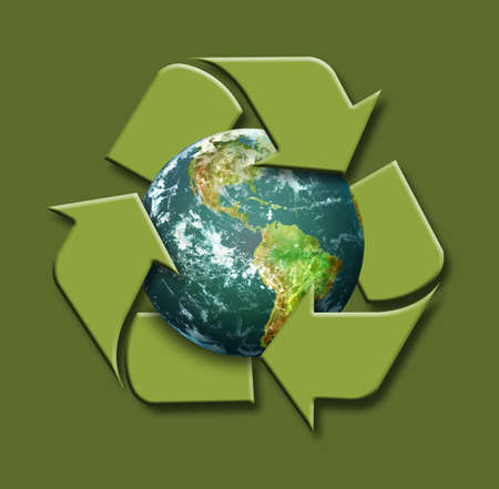 Planet Earth with Recycle Symbol on a green background Stock Photo - 7796349