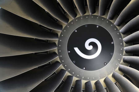 Jet engine detail of a commercial airliner photo