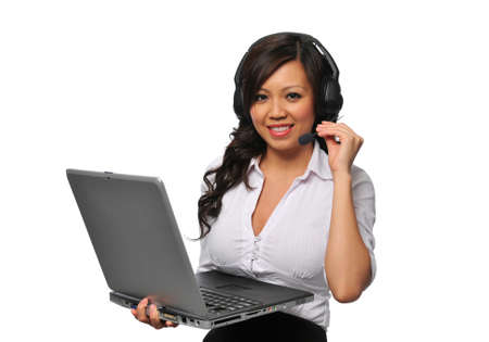 Young beautiful asian customer service representative with headphones