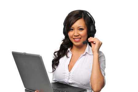 Young beautiful asian customer service representative with headphones