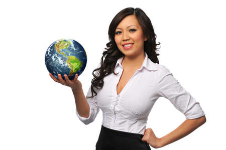 globe in hand: Young beautiful asian bisinesswoman holding the earth isolated on white