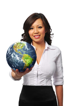 Young asian businesswoman holding the earth isolated on white photo