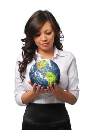 Young asian businesswoman holding the earth isolated on white Stock fotó