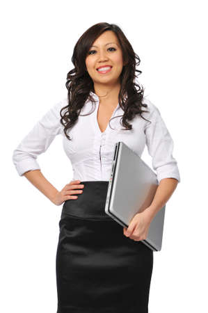 Smiling young asian businesswoman with laptop isolated on white Stock Photo