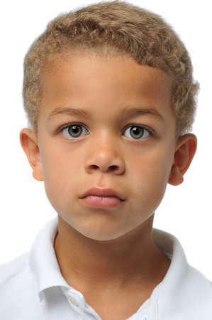 白で隔離の少年の肖像画 写真素材