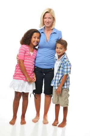 interracial family: Mother and children posing isolated on a white background