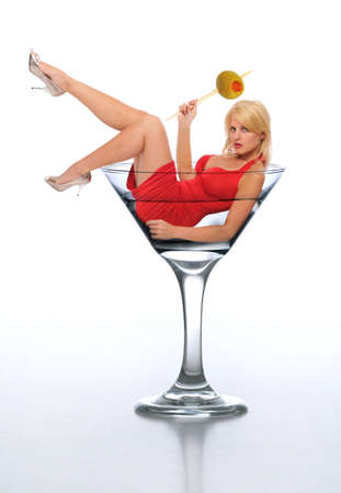 martini glass: Young blond wearing a red dress in a martini glass